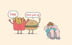 Exercício do abdominal para a comida lixo da perda de peso & o caráter gordo do homem Fotografia de Stock