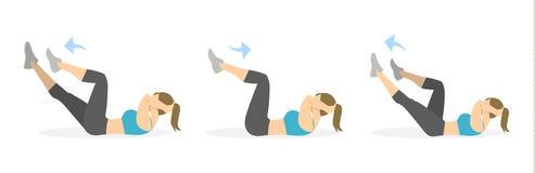 Exercício do Abs para mulheres ilustração stock