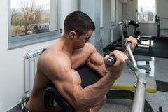 Exercício do bíceps na máquina foto de stock