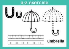 Exercício do a-z do alfabeto com vocabulário dos desenhos animados para o livro para colorir Imagem de Stock Royalty Free