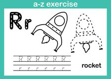 Exercício do a-z do alfabeto com vocabulário dos desenhos animados para o livro para colorir Foto de Stock