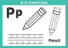 Exercício do a-z do alfabeto com vocabulário dos desenhos animados para o livro para colorir Imagens de Stock