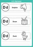 Exercício do a-z do alfabeto com vocabulário dos desenhos animados para o livro para colorir Foto de Stock Royalty Free