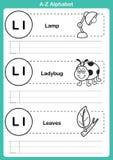 Exercício do a-z do alfabeto com vocabulário dos desenhos animados para o livro para colorir Imagem de Stock