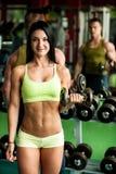 Exercício dos pares da aptidão - o homem e a mulher aptos treinam no gym fotografia de stock royalty free