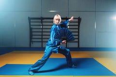Exercício fêmea com fã, arte marcial do mestre do wushu Imagem de Stock