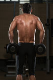 Exercício masculino de Doing Heavy Weight do atleta para o Trapezius Imagens de Stock Royalty Free