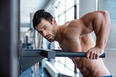 Exercício muscular do homem em barras paralelas imagem de stock royalty free