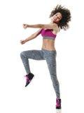 Exercícios da aptidão da dança do dançarino do zumba da mulher imagens de stock