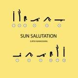 exercícios da ioga da saudação do sol Imagem de Stock