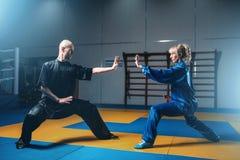 Exercícios masculinos e fêmeas dos lutadores do wushu internos Imagem de Stock Royalty Free