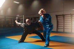 Exercícios masculinos e fêmeas dos lutadores do wushu internos Imagem de Stock