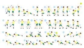 Exercícios para as crianças ajustadas Foto de Stock Royalty Free
