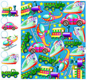 Exercícios para crianças - necessidades de contar os veículos de transporte e de tirar os números de correspondência nos círculos ilustração royalty free