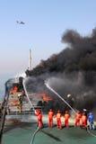 Exercício da contingência do derramamento de petróleo Foto de Stock