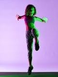 Exercícios da aptidão da dança do dançarino da mulher Imagem de Stock Royalty Free