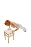 exerce le rouge de exécution d'une chevelure de fille de forme physique Photo libre de droits