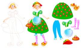 Exercez-vous pour que les enfants dessinent et pour peignent la belle robe pour la poupée préférée Photo stock