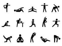 Exercice étirant des icônes Photo stock