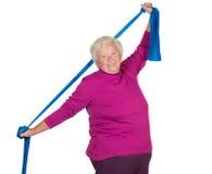 Exercice aîné de poids excessif heureux images stock