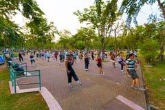 Exercice Bangkok d'aérobic de groupe de parc de Lumpini Photo stock
