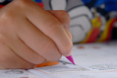 Exercice book. Photography of a children writing on a exercise book Royalty Free Stock Photo
