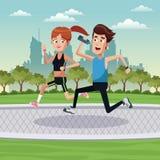 exercice courant Park City de couples Images stock