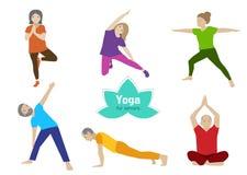 Exercice d'aîné de yoga Activité de sport de personnes plus âgées illustration stock