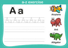 Exercice d'a-z d'alphabet avec l'illustration de vocabulaire de bande dessinée Photos stock