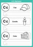 Exercice d'a-z d'alphabet avec le vocabulaire de bande dessinée pour livre de coloriage Photos stock