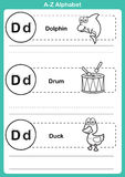 Exercice d'a-z d'alphabet avec le vocabulaire de bande dessinée pour livre de coloriage Photo libre de droits