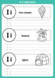 Exercice d'a-z d'alphabet avec le vocabulaire de bande dessinée pour livre de coloriage Images stock