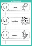 Exercice d'a-z d'alphabet avec le vocabulaire de bande dessinée pour livre de coloriage Image stock