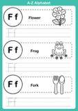 Exercice d'a-z d'alphabet avec le vocabulaire de bande dessinée pour livre de coloriage Photographie stock