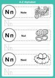 Exercice d'a-z d'alphabet avec le vocabulaire de bande dessinée pour livre de coloriage Images libres de droits
