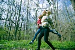 Exercice dans la forêt Images libres de droits