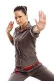 Exercice de boxeur de femme de force d'isolement photographie stock