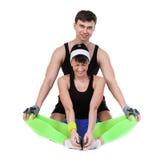 Exercice de couples de forme physique d'aérobic d'isolement dedans Images stock