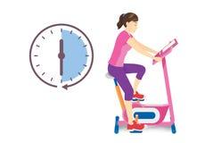 Exercice de femme sur la bicyclette stationnaire avec l'icône d'horloge d'isolement sur le blanc illustration libre de droits