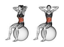 Exercice de Fitball Tourne le torse se reposant sur le fitball femelle illustration libre de droits