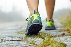 Exercice de marche en montagnes Image stock