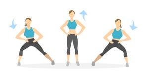 Exercice de mouvements brusques pour des jambes illustration stock