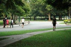Exercice de personnes en parc Photographie stock libre de droits
