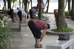 Exercice de personnes en parc Images stock