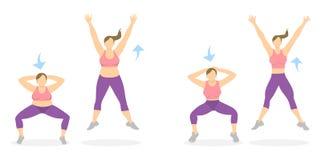 Exercice de postures accroupies pour des jambes illustration stock