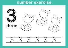 Exercice du numéro trois illustration stock