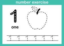 Exercice du numéro un illustration stock