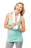 Exercice mûr sain de femme d'isolement sur le fond blanc Image libre de droits