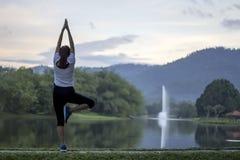Exercice paisible de yoga de femmes devant l'étang Photographie stock libre de droits