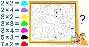 Exercice pour des enfants avec la multiplication Trouvez les réponses et peignez les nombres dans des couleurs appropriées Photos libres de droits